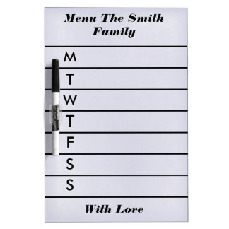 Personalized Purple Weekly Dinner Menu Dry Erase Board