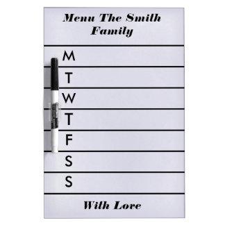 Personalized Purple Weekly Dinner Menu Dry Erase Whiteboard