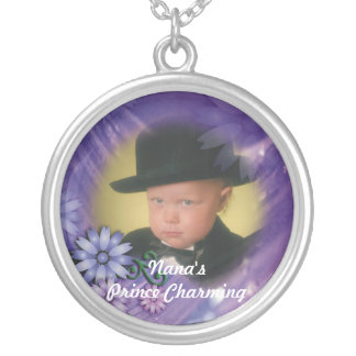 Personalized Purple Whimsy Flowers Round Pendant Necklace