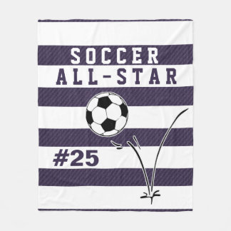 Personalized Purple & White SOCCER Blanket