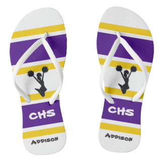 Personalized Purple & Yellow Cheer Flip Flops
