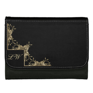 Personalized Purse - Gold on Black with Text Leather Wallets