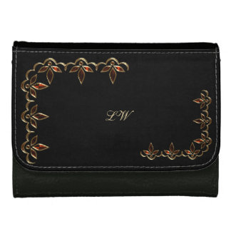 Personalized Purse - Red & Gold on Black 1 Leather Wallet