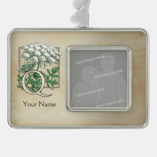 Personalized Queen Anne's Lace Monogram Silver Plated Framed Ornament