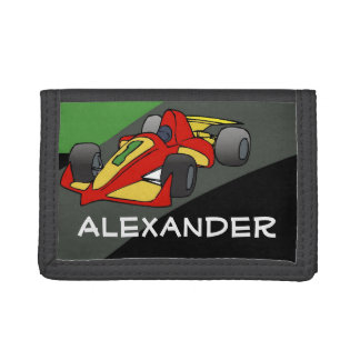 Personalized Race Car Boys Tri-fold Wallets