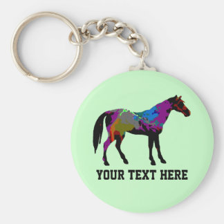 Personalized Race Horse Design On Mint Green Basic Round Button Key Ring