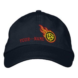 Personalized Racing Flames 45 Spacer Bullet Badge Embroidered Cap