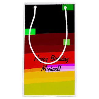 Personalized Rainbow Abstract Art Small Gift Bag