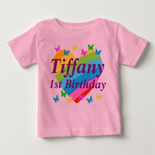 PERSONALIZED RAINBOW AND BUTTERFLIES 1ST BIRTHDAY BABY T-Shirt