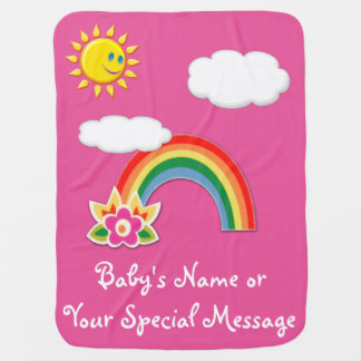Personalized Rainbow Baby Blanket YOUR COLORS TEXT