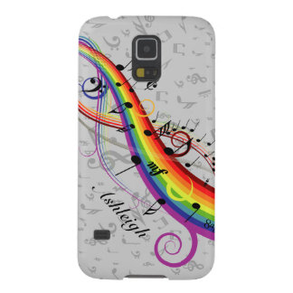Personalized Rainbow Black Musical Notes on Gray Galaxy S5 Case