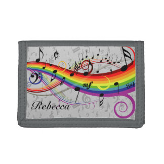 Personalized Rainbow Black Musical Notes on Gray Tri-fold Wallets