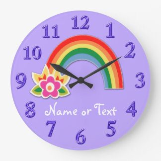 Personalized Rainbow Clock in YOUR COLORS, TEXT