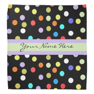 Personalized Rainbow Confetti on Black Bandana