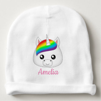 Personalized Rainbow Cute Kawaii Unicorn Face Head Baby Beanie