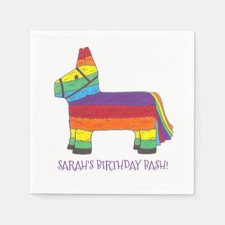 Personalized Rainbow Donkey Piñata Birthday Party Disposable Napkin
