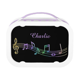 Personalized Rainbow Music Notes Lunch Box