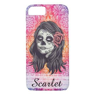 Personalized Rainbow Sugar Skull, Los Muertos iPhone 8/7 Case