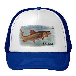 Personalized Rainbow Trout Chasing a Fly Lure Cap