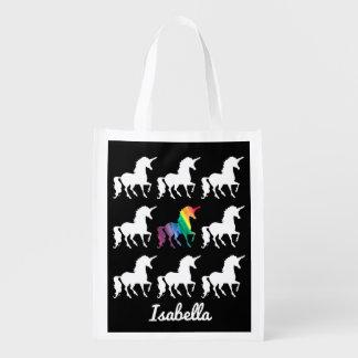 Personalized Rainbow Unicorn Black & White Pattern Reusable Grocery Bag