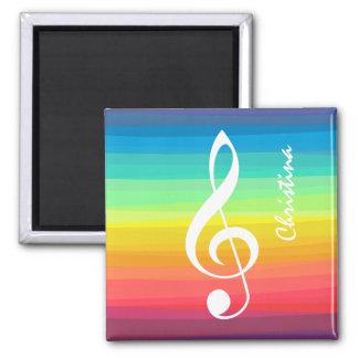 Personalized Rainbow Watercolor Treble Clef Square Magnet