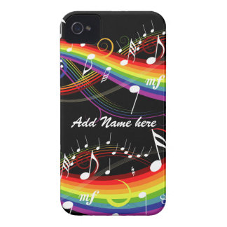 Personalized Rainbow White Music Notes on Black iPhone 4 Case