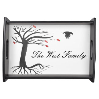 Personalized Raven and Autumn Tree Tray