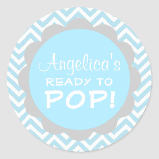 Personalized Ready to Pop Baby Shower Blue Boy Round Sticker