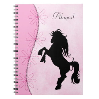 Personalized Rearing Silhouette Horse and Flowers Notebooks
