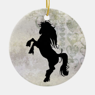 Personalized Rearing Silhouette Horse Ornament