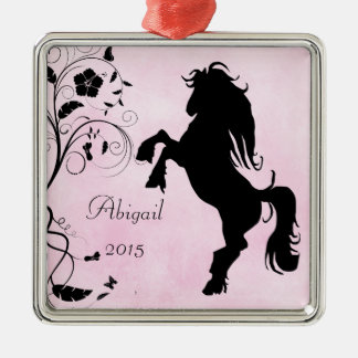 Personalized Rearing Silhouette Horse Pink Black Christmas Ornament
