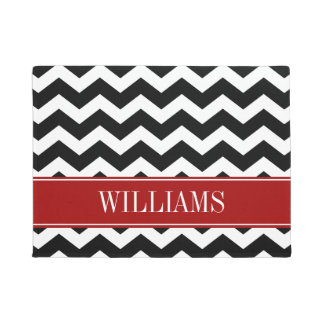 Personalized Red and Black Chevron Doormat
