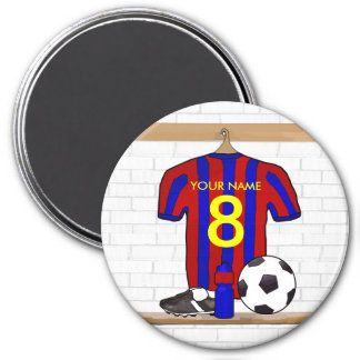Personalized Red and Blue Football Soccer Jersey 7.5 Cm Round Magnet
