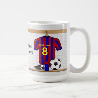 Personalized Red and Blue Football Soccer Jersey Basic White Mug