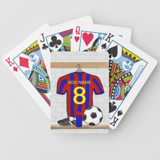 Personalized Red and Blue Football Soccer Jersey Bicycle Playing Cards