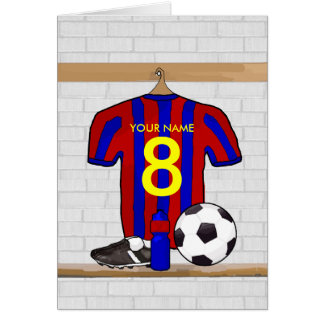 Personalized Red and Blue Football Soccer Jersey Card