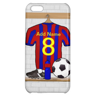 Personalized Red and Blue Football Soccer Jersey Cover For iPhone 5C