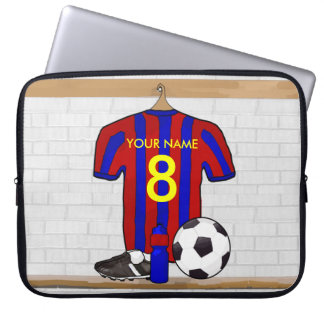 Personalized Red and Blue Football Soccer Jersey Laptop Sleeve