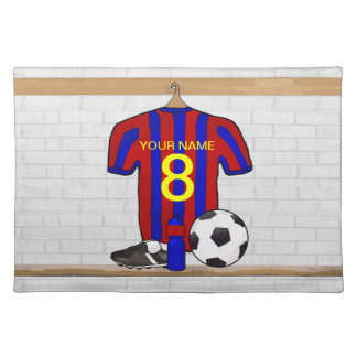 Personalized Red and Blue Football Soccer Jersey Placemat