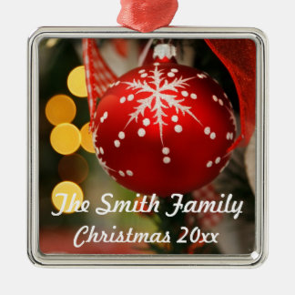 Personalized Red and Gold Christmas Year Ornament