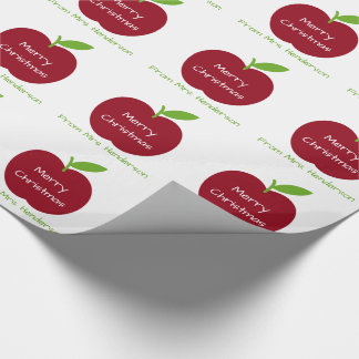 Personalized Red and Green Teacher's Apples Wrapping Paper