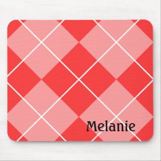Personalized Red and Pink Argyle Pattern Mousepad