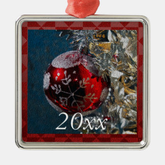 Personalized Red and Silver Christmas Year Christmas Ornament