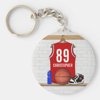 Personalized Red and White Basketball Jersey Basic Round Button Key Ring