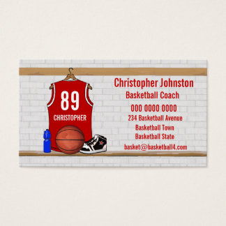 Personalized Red and White Basketball Jersey Business Card