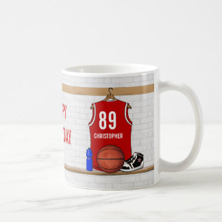 Personalized Red and White Basketball Jersey Coffee Mug