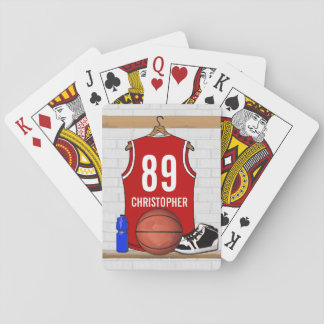 Personalized Red and White Basketball Jersey Deck Of Cards