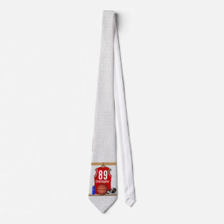 Personalized red and White Basketball Jersey Tie