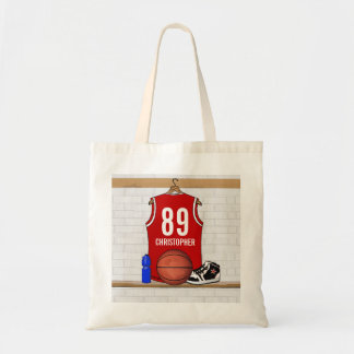 Personalized Red and White Basketball Jersey Tote Bag