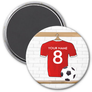 Personalized Red and White Football Soccer Jersey 7.5 Cm Round Magnet